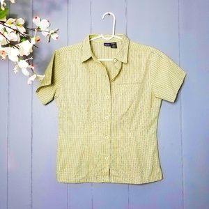 Patagonia stripped green button up shirt